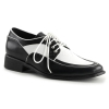 LOAFER-04 Black/White Faux Leather